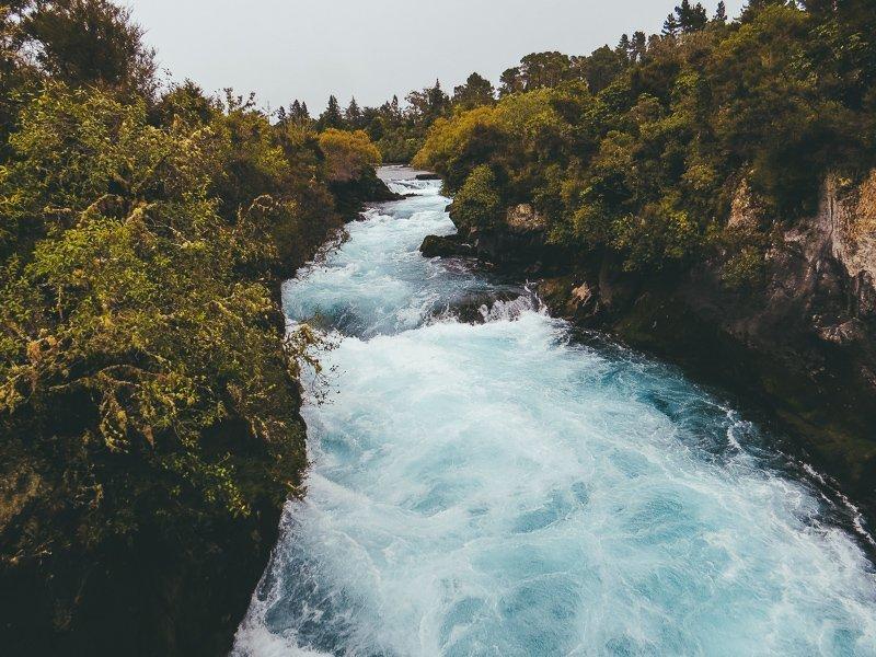 Een van de tofste plekken van Nieuw-Zeeland: de Huka Falls.