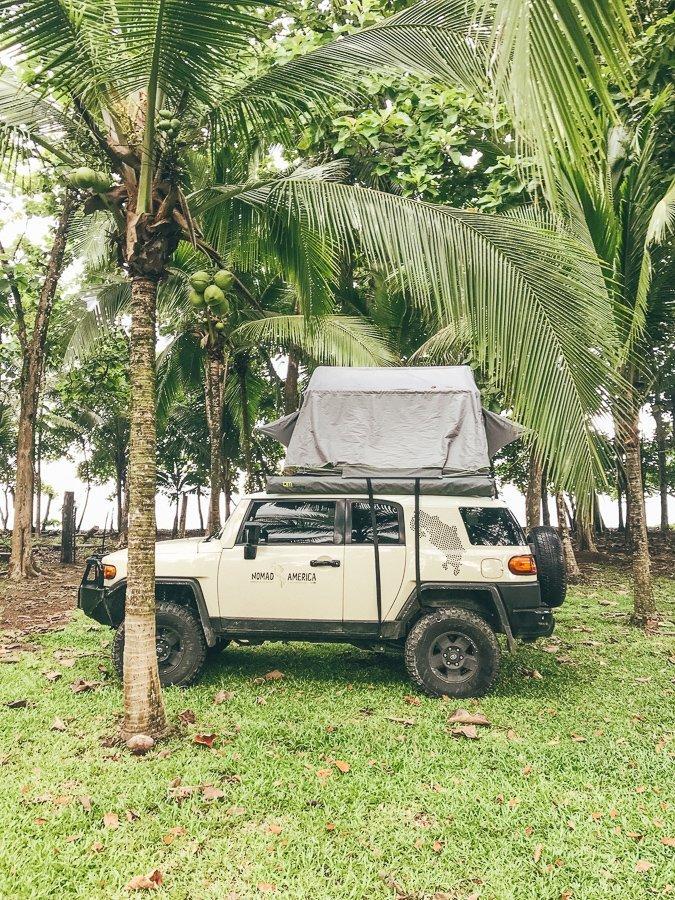 Rooftop tent in Costa Rica