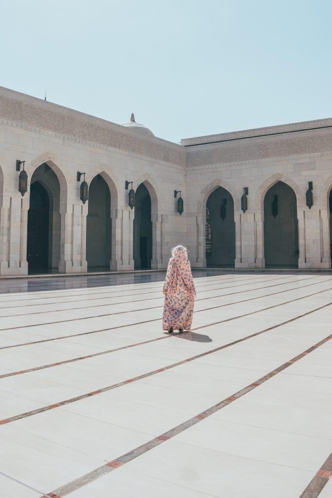 Een foto in de Grand Mosque van Muscat.