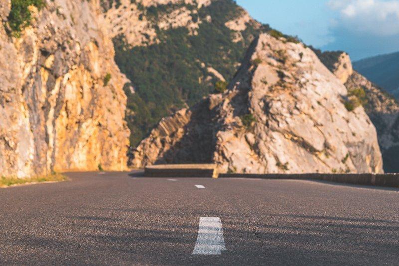 De route onderweg naar de Gorges du Verdon Frankrijk
