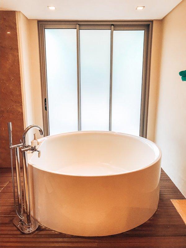 Een heerlijk bad in Mauritius.