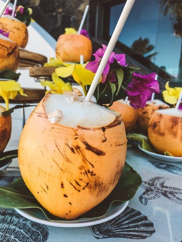 Kokosnoot met rum, heerlijk!