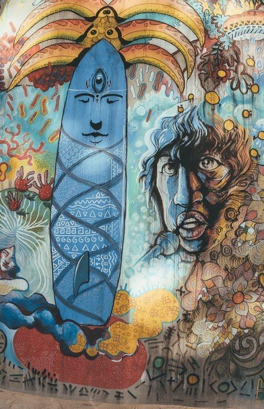 Street art tijdens een Mauritius vakantie.