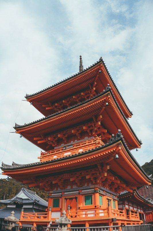 De pagode van de Kiyomizudera tempel in Kyoto.