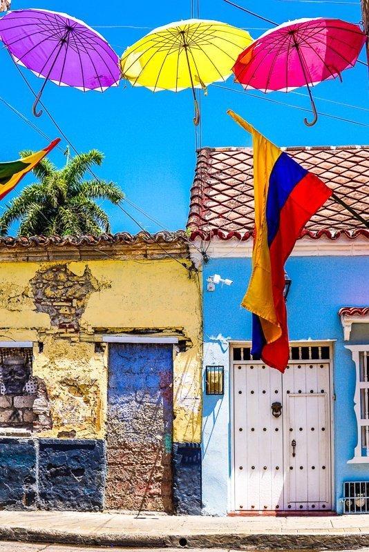 Kleurrijke gebouwen in Cartagena
