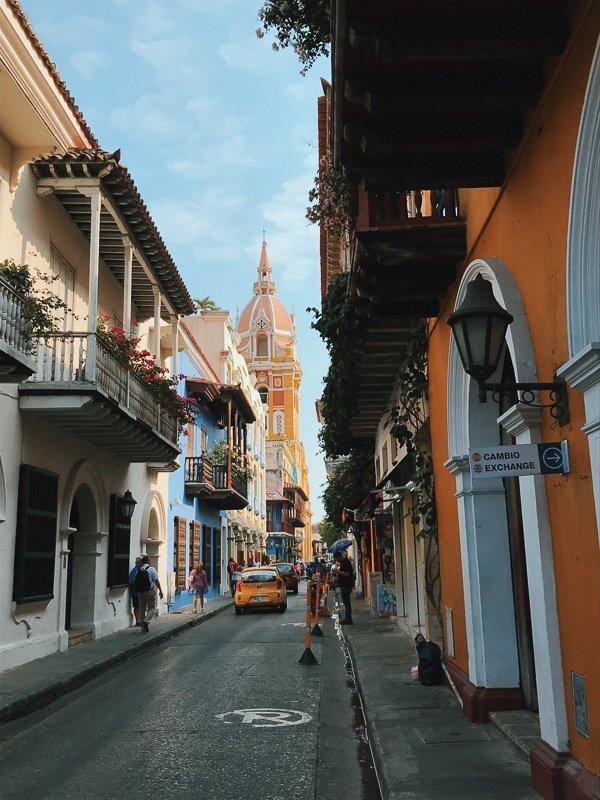 Mooie straten in Cartagena.