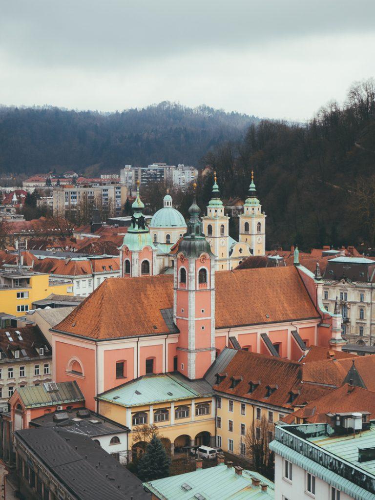 Het uitzicht op Ljubljana vanaf het dakterras.