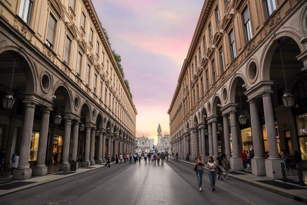 De chique winkelstraat in Turijn