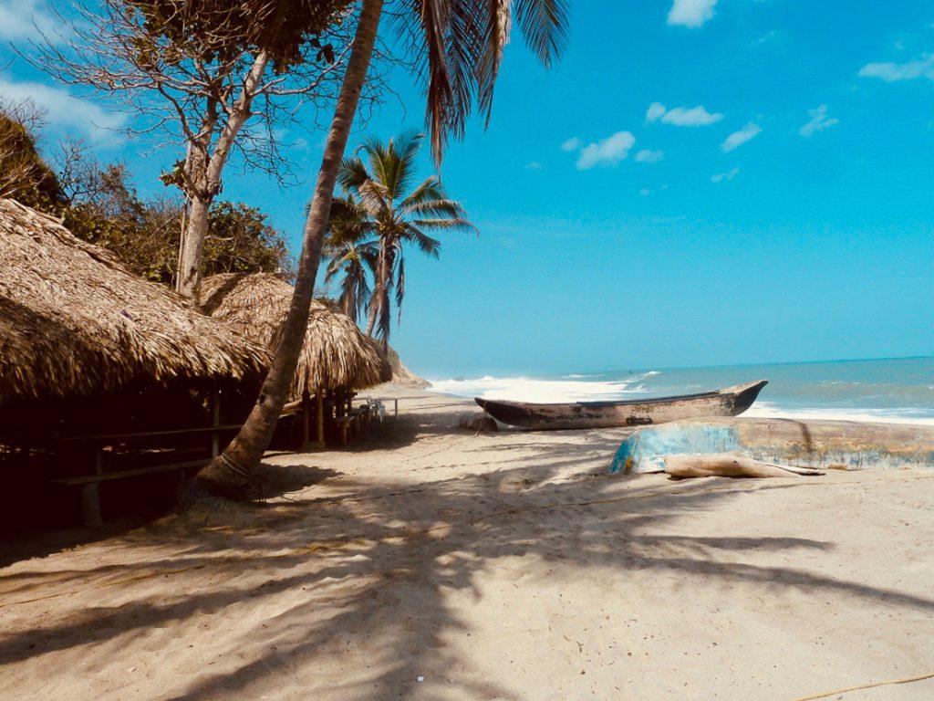 Een wit strand met palmbomen