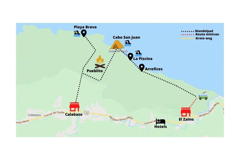 Een uitgestippelde route door het Tayrona National Park
