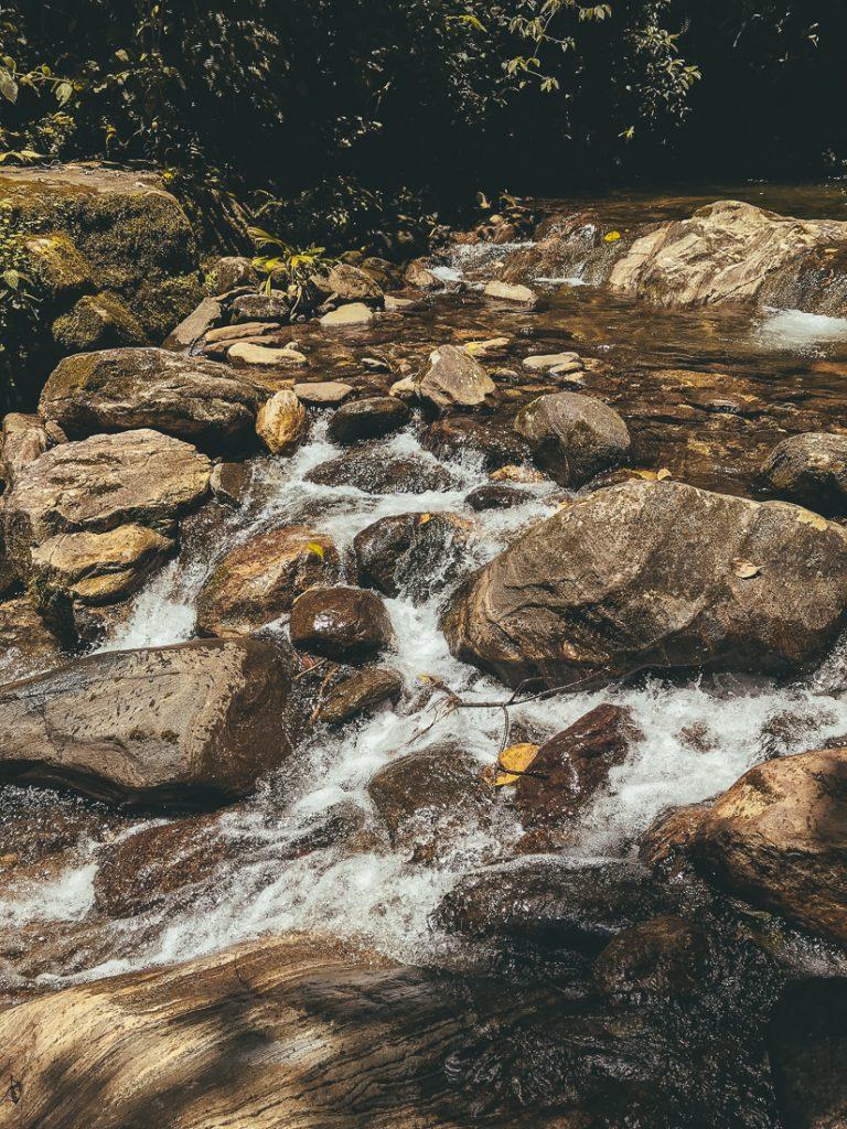 Tijdens de Ciudad Perdida hike in Colombia steek je allerlei rivieren over.