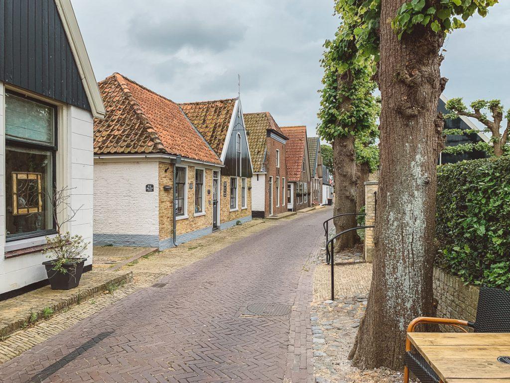 Een straatje met bomen en oude huisjes