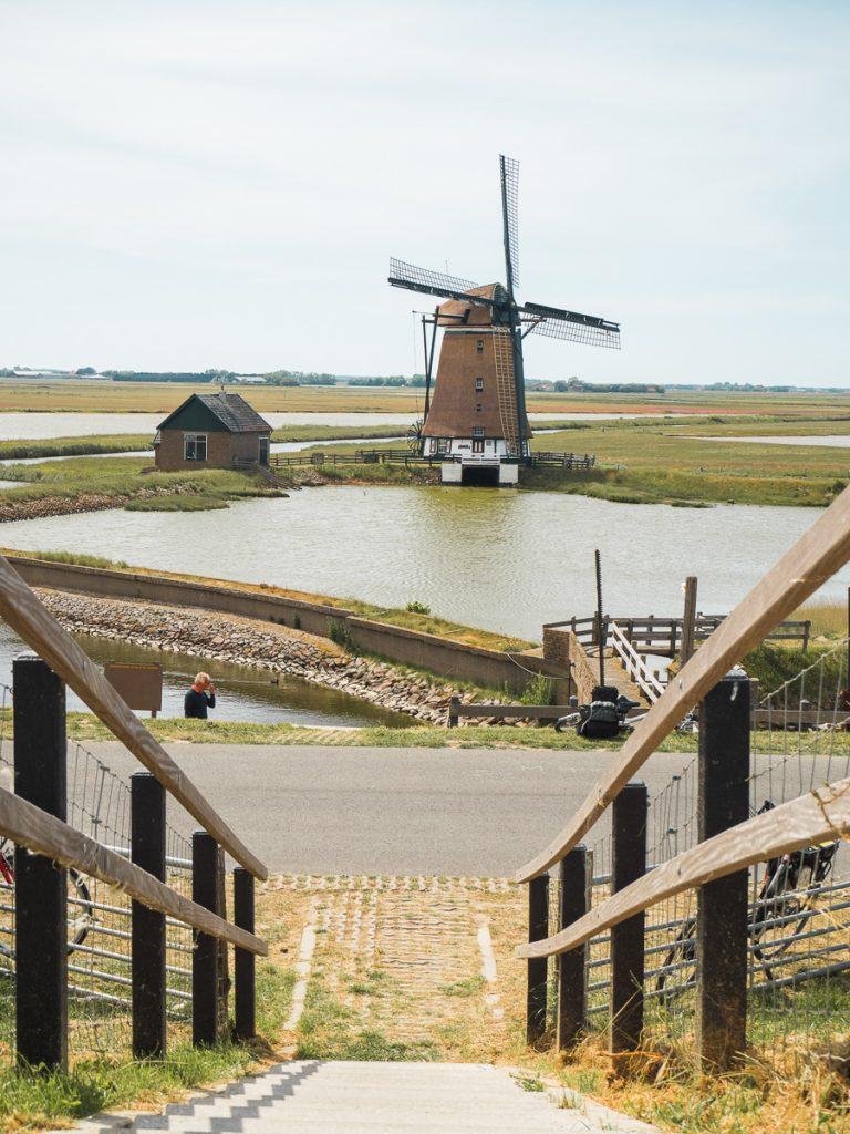 Molen met weilanden op Texel