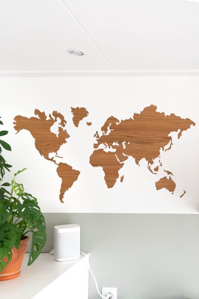 Sticky houten wereldkaart