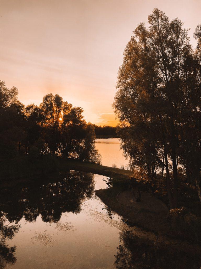 Oranje lucht tijdens de zonsondergang over het meer van Bussloo