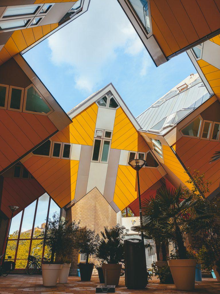 De iconische kanariegele kubuswoningen in Rotterdam