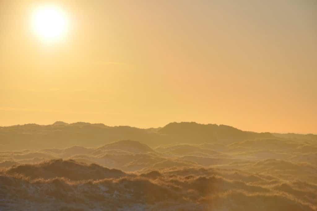 Een oranje lucht in de duinen