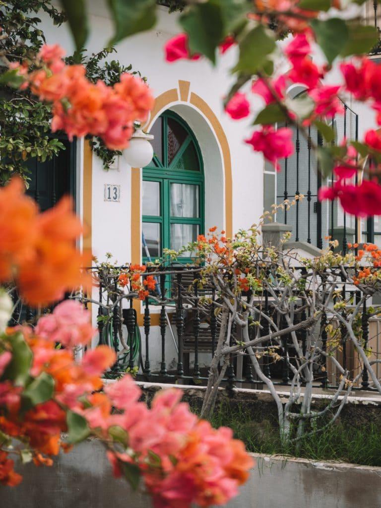 Prachtige huisjes vol met bloemen in Puerto de Mogán