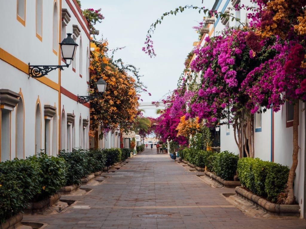 Straatje in Puerto de Mogán vol kleurrijke bloemen