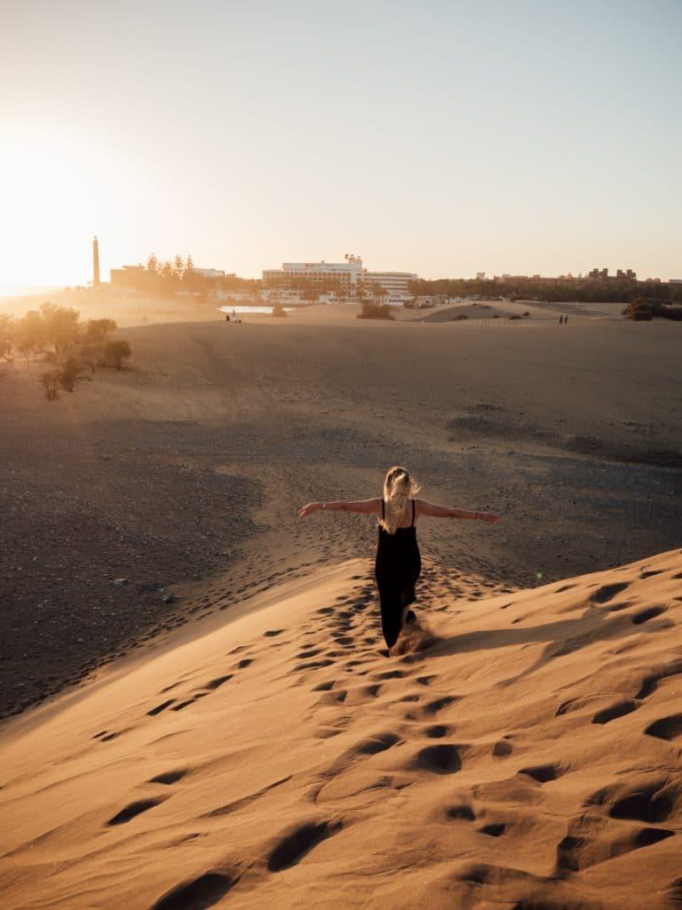 Zonsondergang in de duinen van Maspalomas