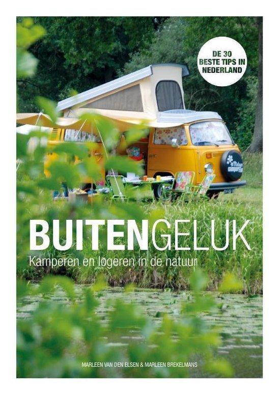 Voorkant van het boek Buitengeluk, met een oranje Volkswagencamper op de achtergrond