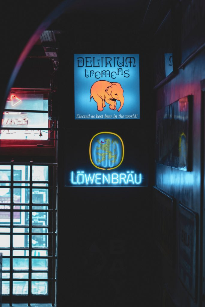 Het logo van het Delirium cafe in Brussel