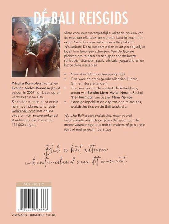 De achterkant van het boek We like Bali
