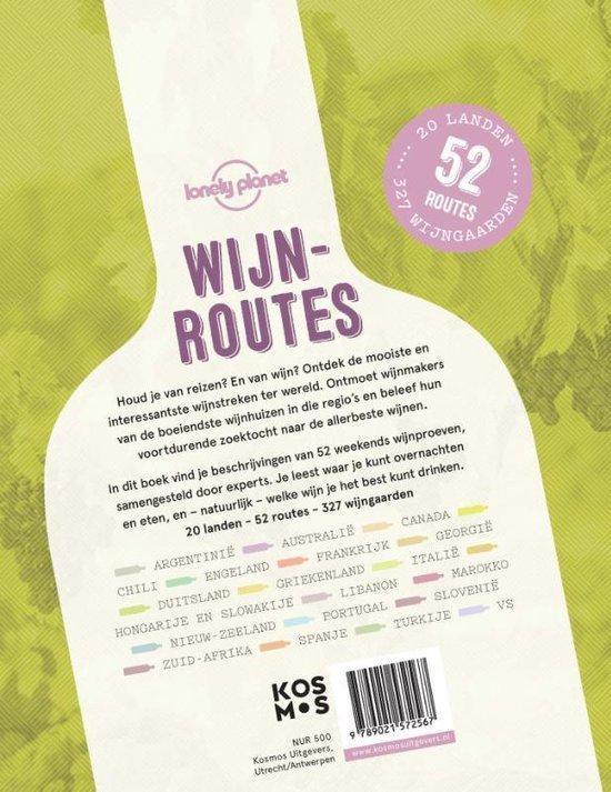 De originele achterkant van het boek 'Wijnroutes' in de vorm van een wijnfles