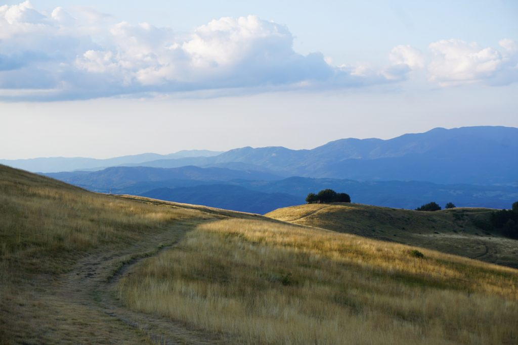 Groene heuvels en grillige bergen op de achtergrond
