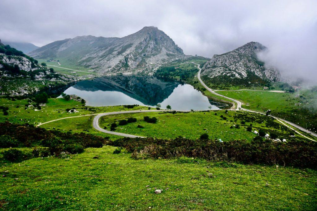 Felgroen landschap met bergen en poelen in Picos de Europa