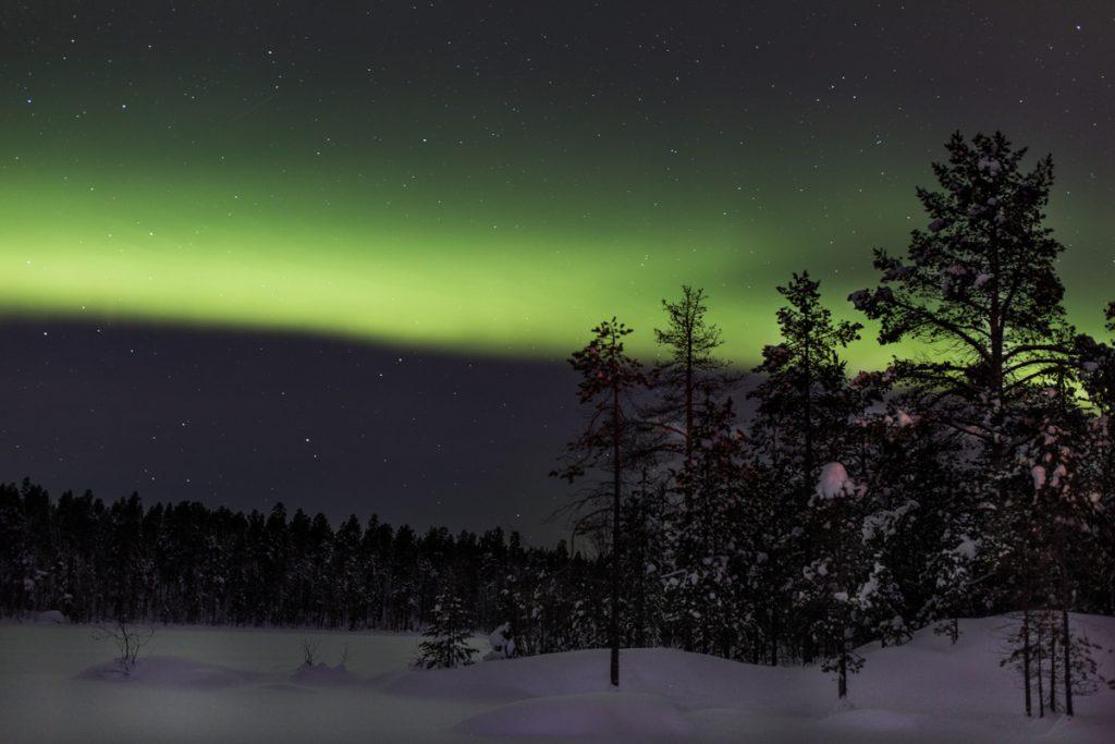 Het groene noorderlicht in Finland