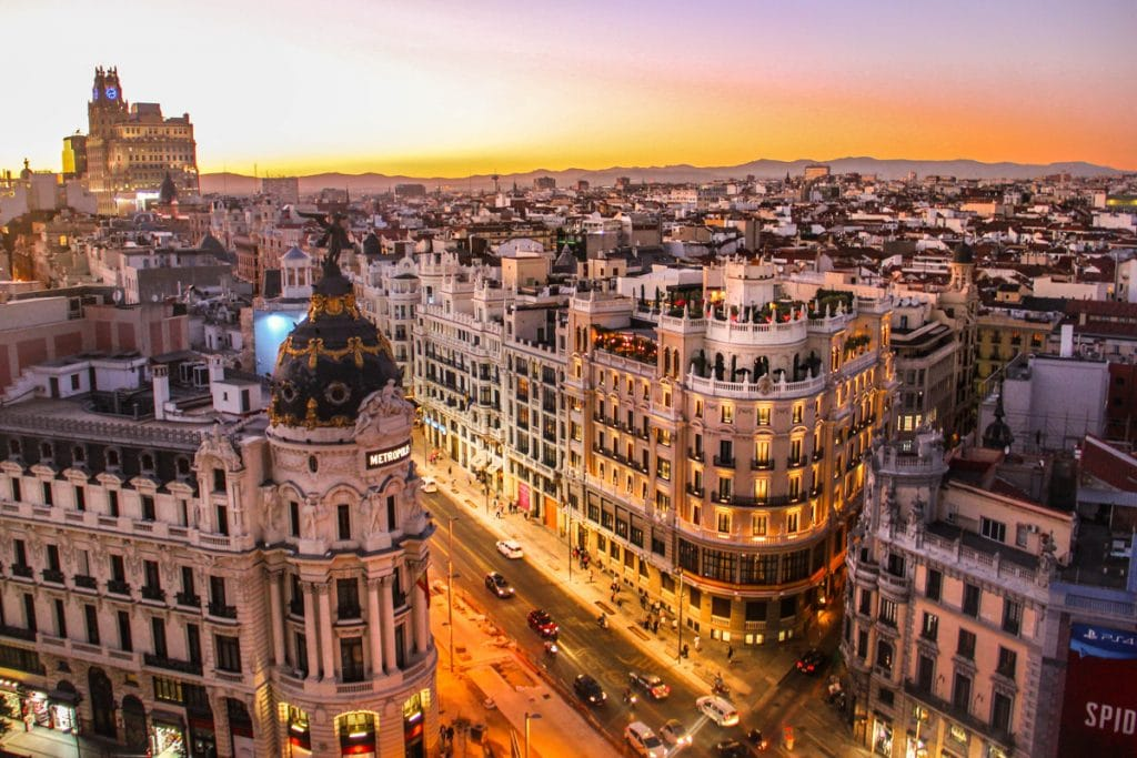 Zonsondergang in Madrid