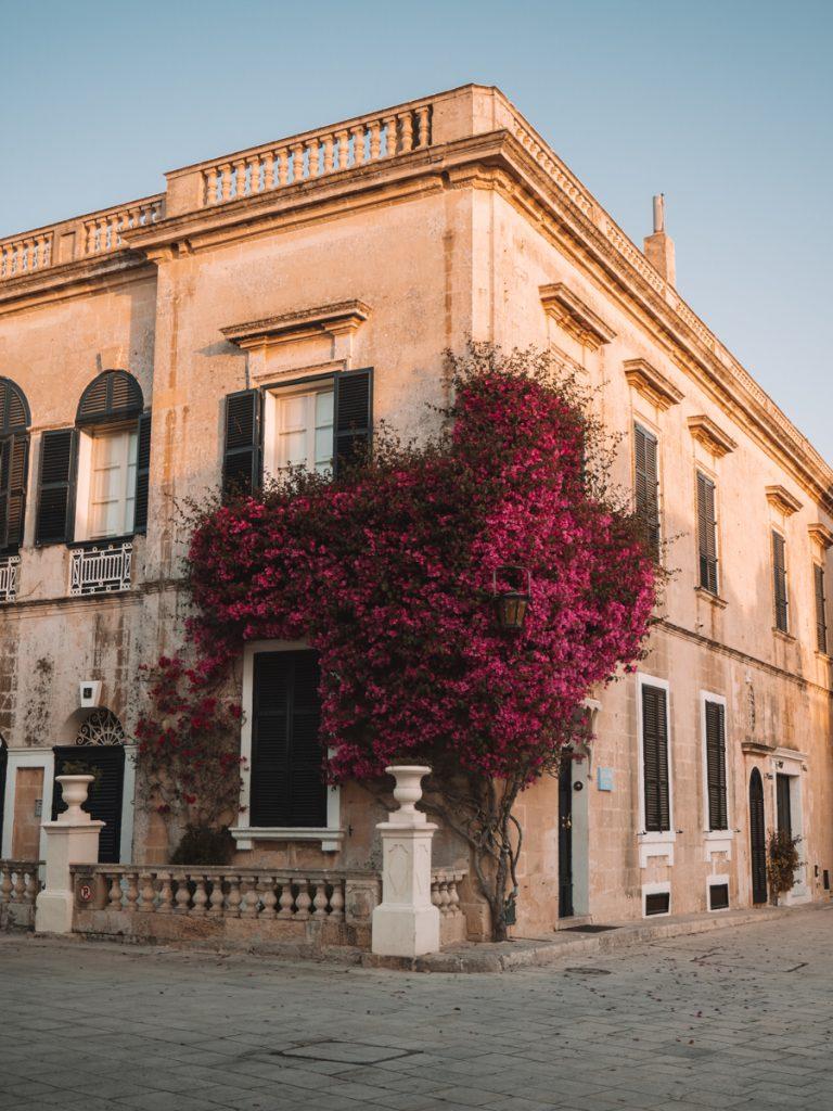 Een prachtige pand met roze bloemen in de Mdina van Malta, een van de mooiste bezienswaardigheden op het eiland