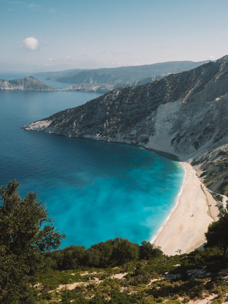 Het waanzinnige uitzicht op Myrtos Beach