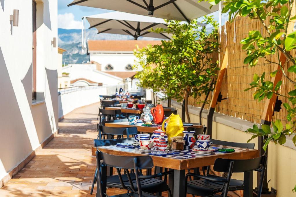Het terras van het hotel in Sorrento