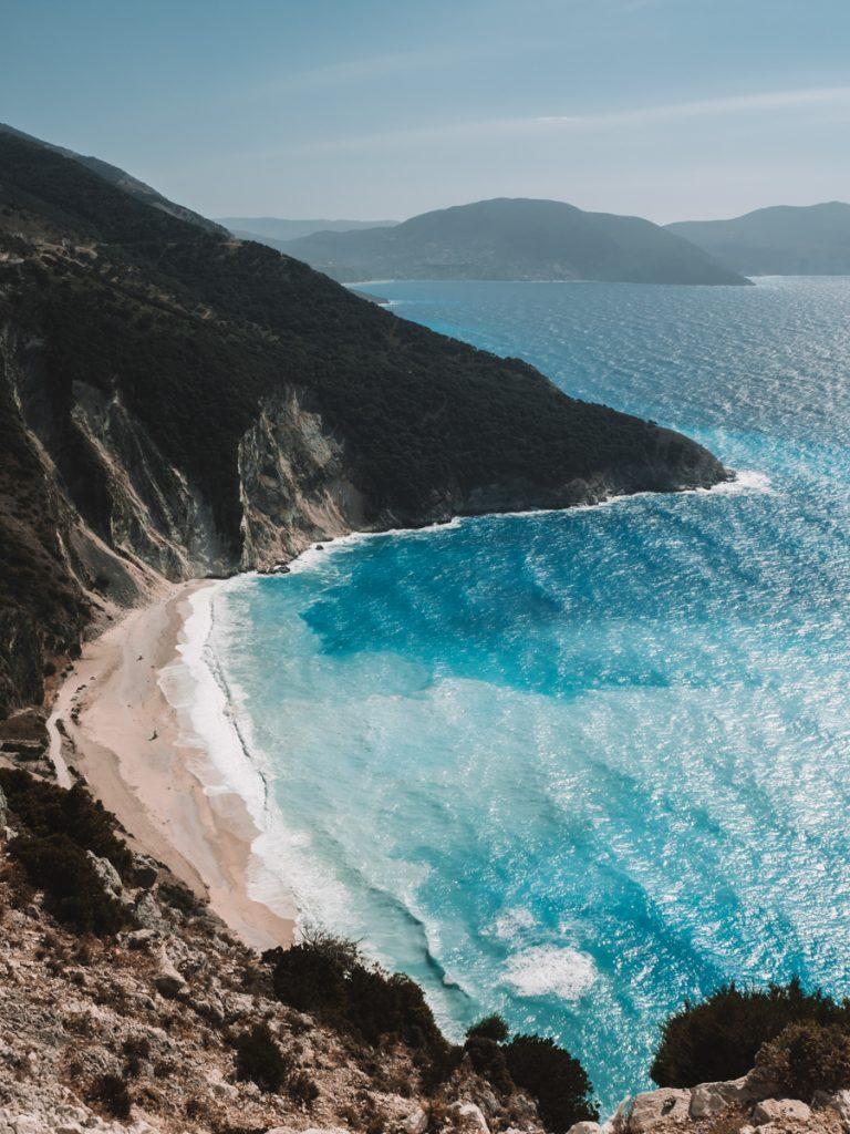 Het uitzicht op Myrtos Beach